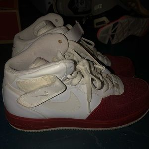 mens high tops white and red nike air forces